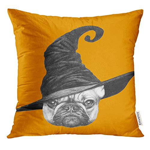 UPOOS Throw Pillow Cover Dog Portrait of French Bulldog with Witch Hat Halloween Animal Beautiful Decorative Pillow Case Home Decor Square 18x18 Inches Pillowcase]()