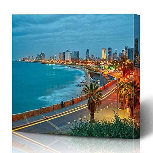 Bracket Wall Cityscape (Ahawoso Canvas Prints Wall Art 12x16 Inches Town Night Tel Aviv Israel After Sunset Color View Parks Beach Jaffa Coastline Travel Water Decor for Living Room Office Bedroom)