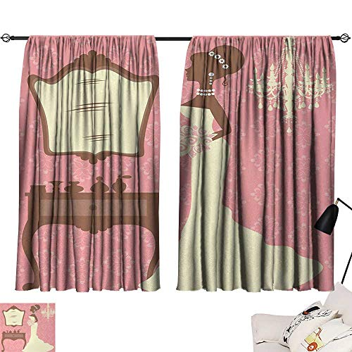 (Jinguizi Bridal Shower Bedroom/Living Wedding Dress with Flowers and Vanity Swirl Backdrop Celebration Sunbeams Isolated Darkening Curtains Coral Brown and White W55 x L39)