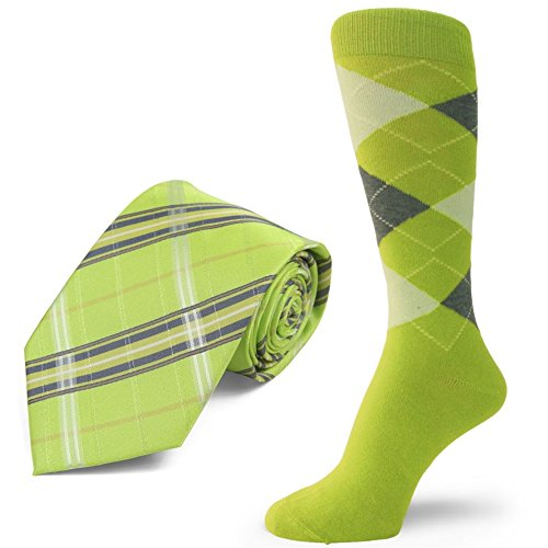 Spotlight Hosiery brand Men's Dress Socks &Necktie Set Lime Green/Charcoal Gray/Light Lime Green ()