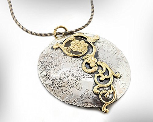 Handmade Statement Pendant Necklace, 9k Vintage Style Gold and Silver Pendant, Women Jewelry Gift. Customized : Material .