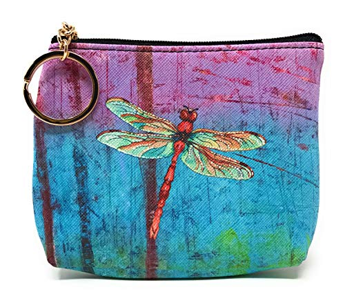 Value Arts Colorful Dragonfly Coin Purse Pouch with Key Ring