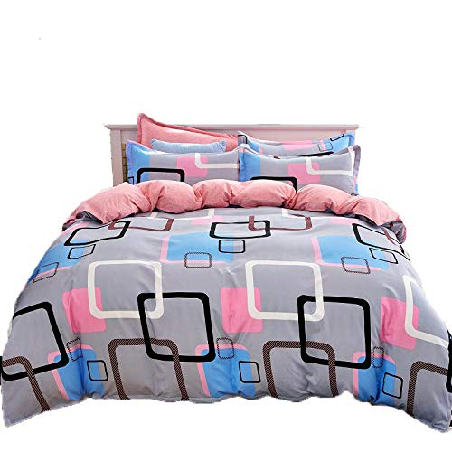 colord Squares& xFF0C;pink Queen& xFF0C;78 x90  KFZ 4pcs Beddingset Duvet Cover Set No Comforter Flat Sheet Pillow Case MJ Twin Full Queen King Little Stars Dandelion colord Squares Design for Kids Adult (White Twig,Brown, King,86 x94 )