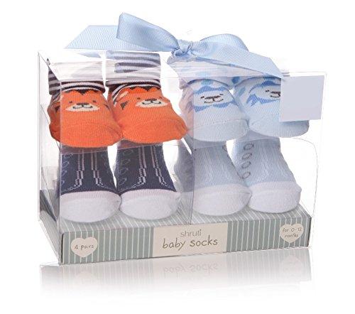 Shruti bebé animales calcetines azul–Juego de 4