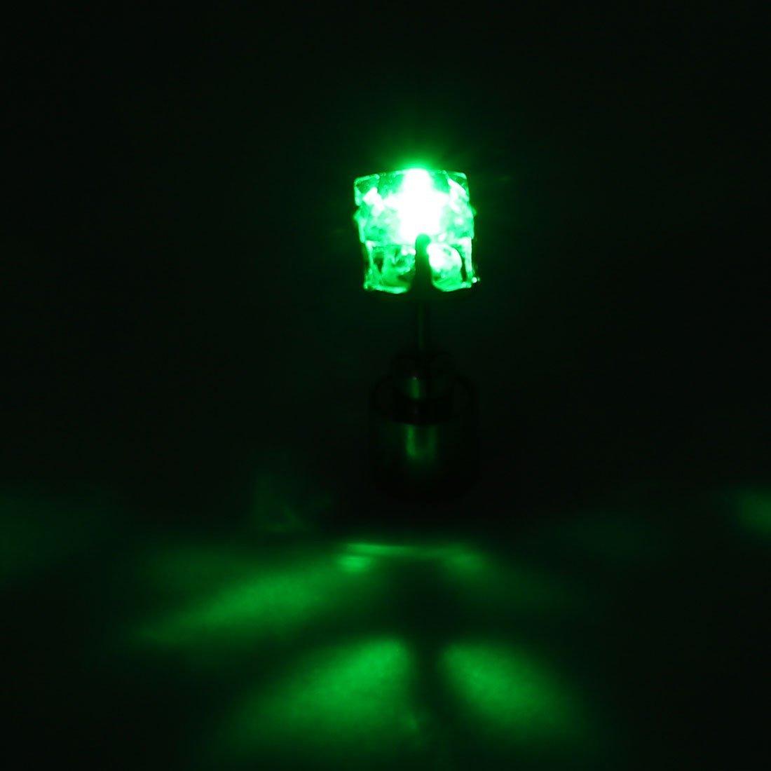 DealMux Unisex Square Shaped Light up Yellow LED Bling Ear Stud Earring Halloween Christmas