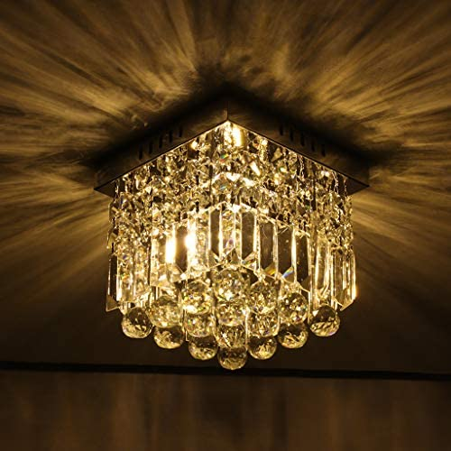shamoluotuo Modern Crystal Chandelier for Dining Room, W10 x H10 K9 Crystal Raindrop Pendeant Ceiling Light, 1 Light Flush Mount Ceiling Lighting Fixture for Bedroom, Living Room, Hallway