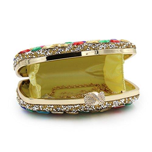 Blue pour jaune Flada femme Pochette Color Color Gold moyen It7qx5v