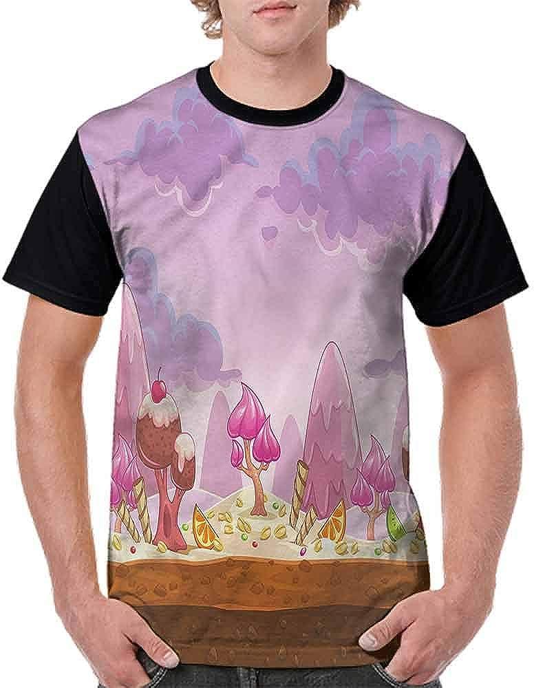 BlountDecor Performance T-Shirt,Cartoon Candy Land Fashion Personality Customization