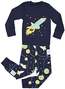 """Elowel Little Boys""""Space Rocket"""" 2 Piece Pajama Set 100% Cotton (Size2Y-12Y)"""