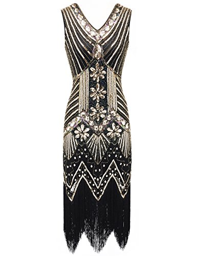 (EAST-BIRD Women 1920s Dress Beaded Sequin V Neck Deco Gatsby Theme Inspired Flapper Dress for Prom (BlackGold,)