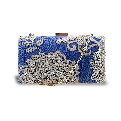 Women's Weddings Acrylic and Blue Parties Bag Embroided for Proms Evening Flower 4gwrU4