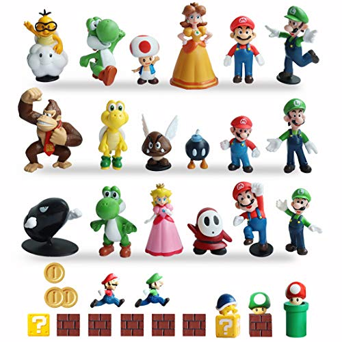 HXDZFX 34 PCS Super Mario Action Figures,Super Mario Bros Toys Figurines Peach Daisy Princess,Luigi,Yoshi,Mario Toys for Boys,Perfect Mario Cake Topper Decorations