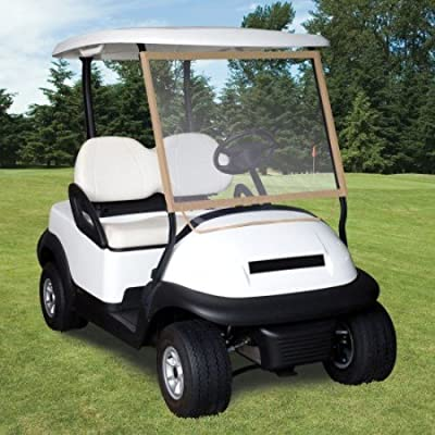 Classic Accessories Fairway Deluxe Portable Golf Cart Windshield, Sand/Clear