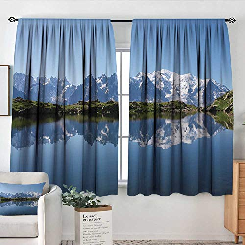 - Elliot Dorothy Sheer Curtains Lake,Mont Blanc Mountain Range Reflected in Cheserys Lake Alps France Panorama,Pale Blue White Green,Decor Collection Thermal/Room Darkening Window Curtains 42
