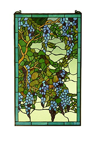 Tiffany stained Style glass window panel wisteria flowers ()
