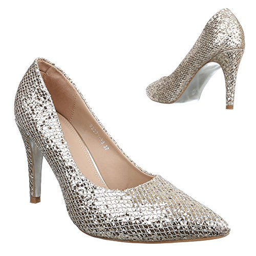 Ital-Design Damen Schuhe, B237Y-PB, Pumps High Heels Gold