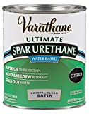 Rust-Oleum Varathane 250241H 1-Quart Classic Clear Water Based Outdoor Spar Urethane, Satin Finish