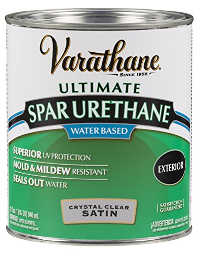 Exterior Polyurethane - Rust-Oleum Varathane 250241H 1-Quart Classic Clear Water Based Outdoor Spar Urethane, Satin Finish