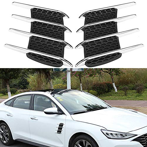 LEIWOOR 1 Pair of Car Exterior Hood Side Air Intake Flow Vent Shark Gills Outlet Decorative Trim Sticker