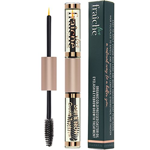 [Castor Oil Cold Pressed Organic for Eyelashes, Eyebrows & Hair Growth Treatment -100% Pure Certified Hexane Free with Mascara Tube, Brush & Eyeliner Applicator to enhance lash and brow. 10ml (0.34oz)] (Growth Enhancer)
