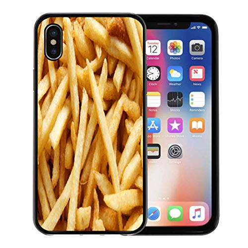 Semtomn Phone Case for Apple iPhone Xs case,Food French Fries Diet Cafe Energy Fastfood Frenchfries for iPhone X Case,Rubber Border Protective Case,Black