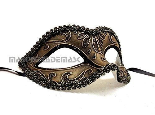 Steampunk Metallic Black Gold Bronze Masquerade Ball Mask for Girls Womens Dance Birthday Prom (Halloween Horror Nights The Purge Anarchy)