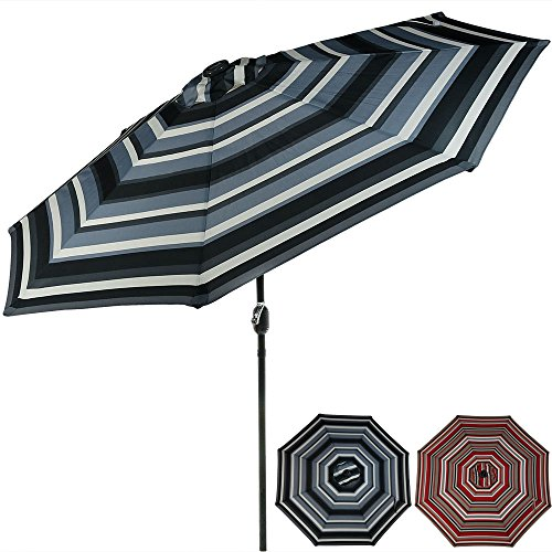 Sunnydaze 9 Foot Outdoor Patio Umbrella with Solar Lights & Tilt/Crank, LED, Catalina Beach Stripe - Catalina Panel