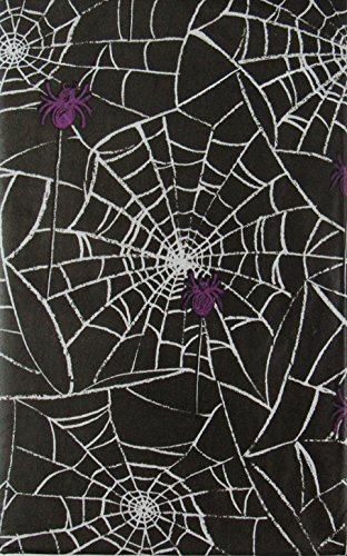 Web Wicked - Spiders on Their Wicked Webs Halloween Vinyl Flannel Back Tablecloth (52
