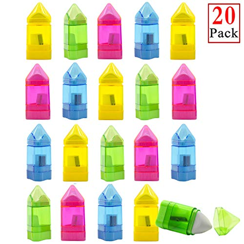 Alpurple 20 Packs Manual Pencil Sharpener with Eraser -Single Hole Triangular Shape Handheld Crayon Sharpener with Receptacle and eraser for School, Office and Home Supplies