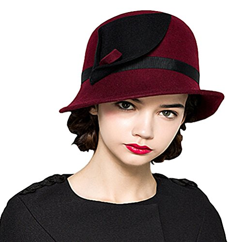 Wool Felt Bowler Fedora Hat Red - 4
