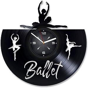 Ballerina Ballet Vinyl Record Wall Clock. Decor for Bedroom, Living Room, Kids Room. Gift for Women or Girls. Christmas, Birthday, Holiday, Housewarming Present.