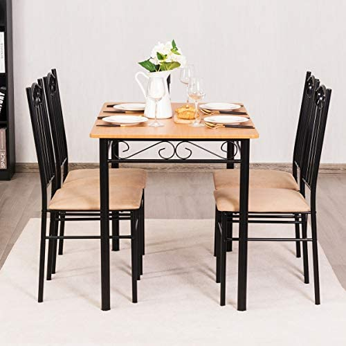 home, kitchen, furniture, kitchen, dining room furniture,  table, chair sets 9 image Tangkula 5 Piece Dining Table Set Vintage Wood deals