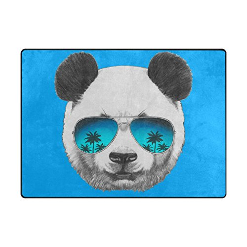 ABLINK Non-slip Area Rugs Home Decor, Hipster Portrait of Panda with Mirror Sunglasses Durable Floor Mat Living Room Bedroom Carpets Doormats 80 x 58 inches