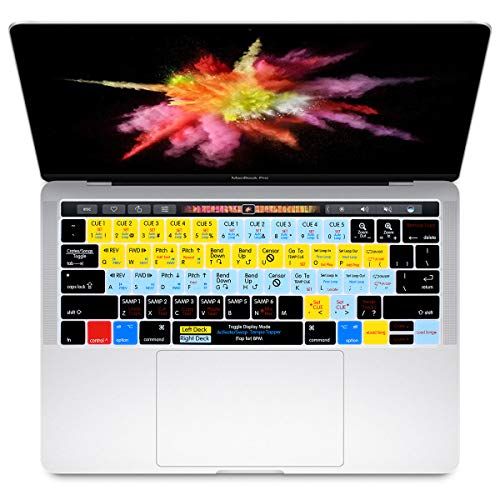 HRH Serato Scratch Live Shortcuts Hotkey Silicone Keyboard Cover Skin for MacBook New Pro with Touch Bar 13 Inch and 15 Inch (A1989/A1706,A1990/A1707) 2018 2016 2017 Release with Touch ID US Version ()