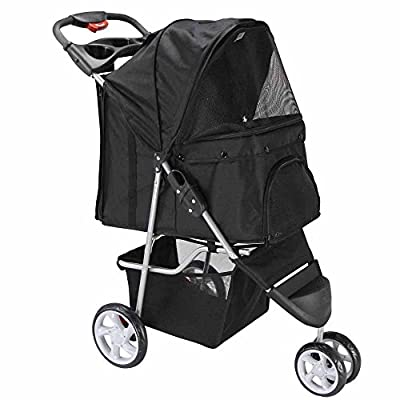 Paws & Pals 3 Wheeler Elite Jogger Pet Stroller Cat/Dog Easy Walk Folding Travel Carrier, Onyx Black by Paws Pals