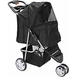 OxGord 3 Wheeler Elite Jogger Pet Stroller Cat/Dog Easy Walk Folding Travel Carrier, Onyx Black