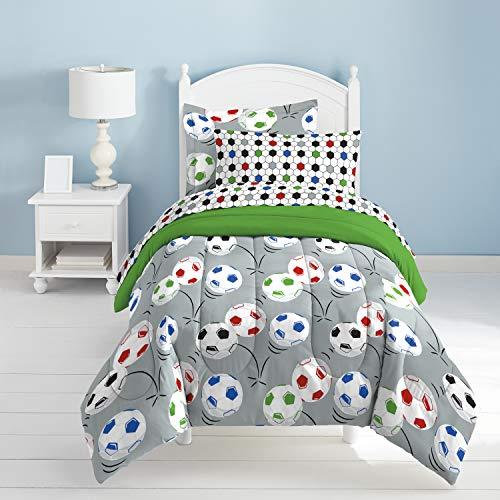 (Dream Factory Soccer Ultra Soft Microfiber Comforter Set, Multi-Colored, Twin)