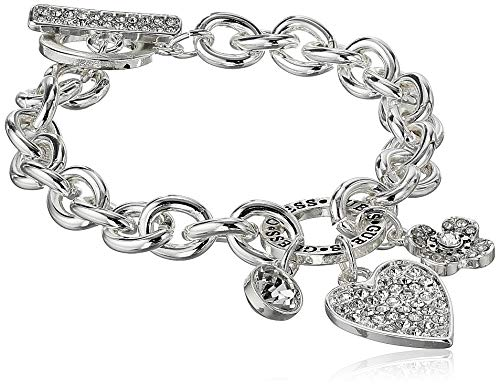 GUESS Women's Toggle Line Bracelet with Logo, Silver, One Size