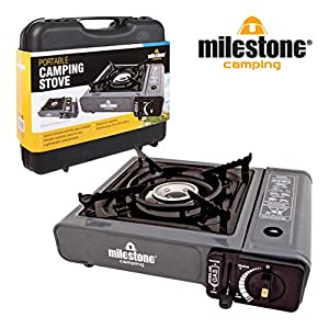 Milestone Camping Men's 18940 Portable Lightweight Gas Stove Single Burner Camping-Black, 33cm x 29cm