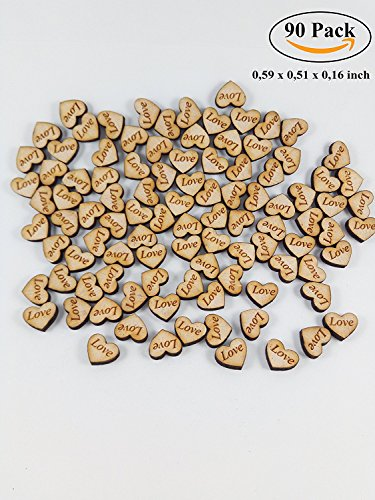 YesKela 90 pcs Small Wooden Hearts Confetti with Engraved Love Sign for Rustic Wedding or Anniversary Party (Love Heart Tags)