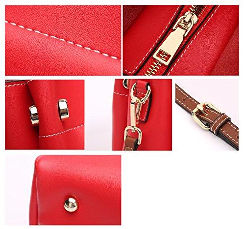 Rosso Nero Borse Vera Tracolle Saierlong Donna Pelle Ywq5R4F