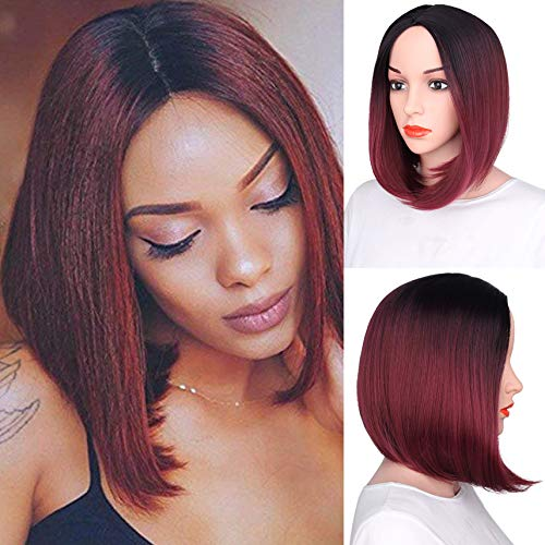 - aHairBeauty Red Ombre Short Bob Straight Synthetic None Lace Hair Wigs Shoulder Length for Women (#1B/Burgundy)