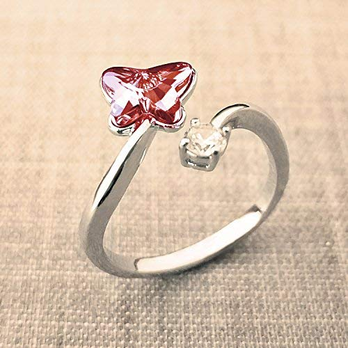 SUE'S SECRET Swarovski Element Ring Peach Red Butterfly Stone Rings with Swarovski Crystal, Ajustable Girls Rings, Birthstone Rings for Woman Girls by SUE'S SECRET (Image #1)