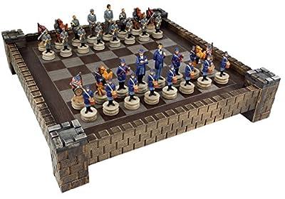 """American US Civil War North vs South chess set W/ 17"""" CASTLE Board"""