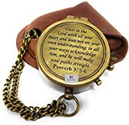 """NauticalMart Brass Compass Trust in The Lord with All Your Heart Engraved Compass, Proverbs 3: 5-16"""" Gift"""