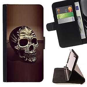 Momo Phone Case / Flip Funda de Cuero Case Cover - Cráneo amarillo de Bling del oro 3D Negro Muerte - Sony Xperia Z2 D6502