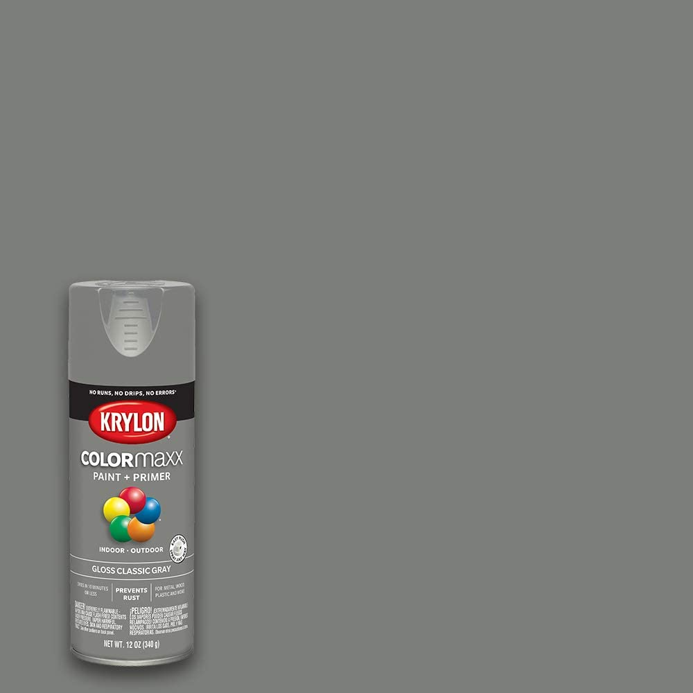 Krylon K05513007 COLORmaxx Spray Paint and Primer for Indoor/Outdoor Use, Gloss Classic Gray