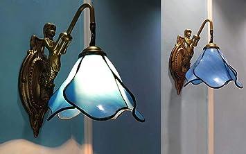 Yalanda lampe murale de style tiffany individualité bleu fleur