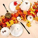 7 pcs Assorted Sizes White Artificial Pumpkins Faux