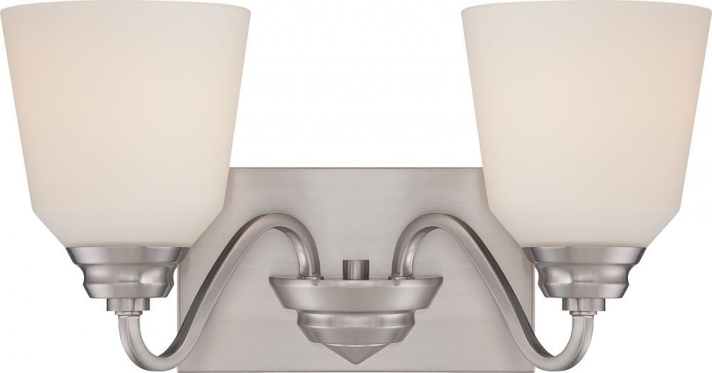 Calvin – 2ライトVanity器具W /サテンホワイトガラス – LEDオムニ含ま B01N9H7SBM